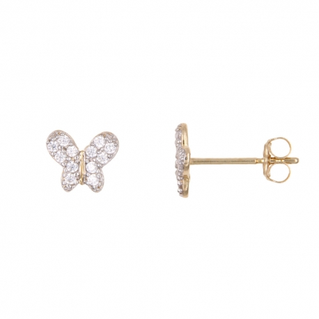 Boucles d'Oreilles Or Jaune et Zirconiums - Papillons - Femme ou Enfant