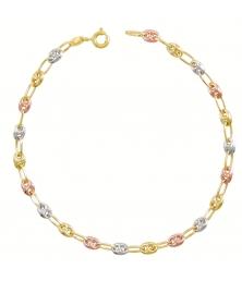 Bracelet 3 Ors - Or Tricolore - Grain de Café Jaune, Blanc et Rose - Femme