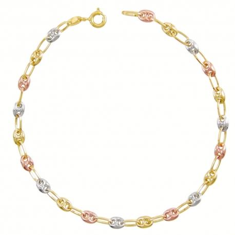 Bracelet Femme 3 Ors - Or Tricolore - Grain de Café Jaune, Blanc et Rose