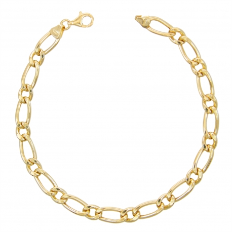 Bracelet Or Jaune Maille Figaro Alternée 1+1 - Homme