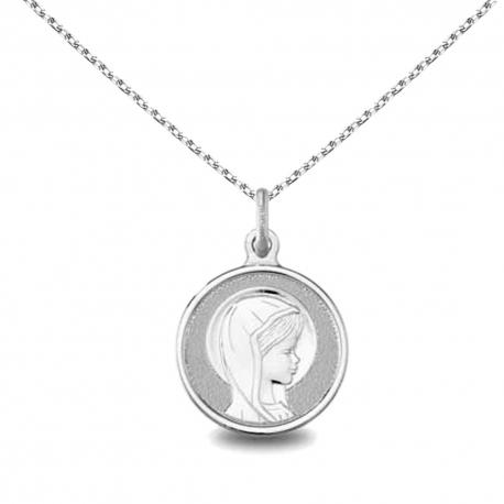 Collier - Médaille Argent 925 Vierge - Gravure et Chaîne Argent 925 Offertes