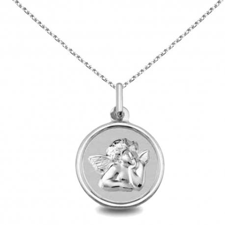 Collier - Médaille Argent 925 Ange - Gravure et Chaîne Argent 925 Offertes