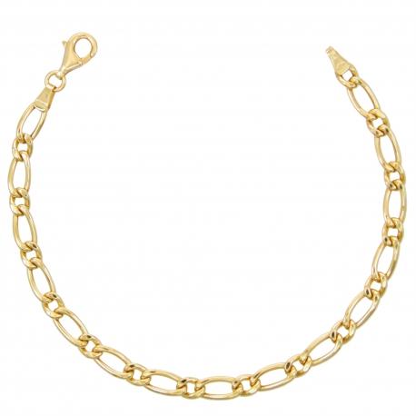 Bracelet Homme Maille Figaro Alternée 1+1 - Or Jaune