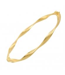 Bracelet Or Jaune - Jonc Ouvrant Torsadé Finition Diamantée