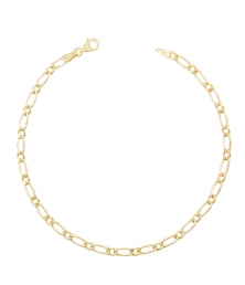 Bracelet Homme Maille Figaro Alternée 1+1 - Or Jaune Véritable
