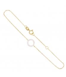 Bracelet Or Bicolore - Anneau Pavé de Zirconiums