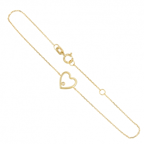 Bracelet Or Jaune et Diamants - Motif Coeur