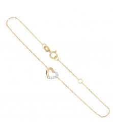 Bracelet Or Bicolore - Coeur Pavé de Zirconiums