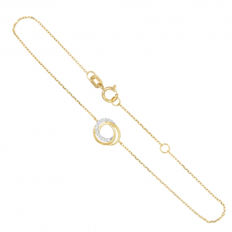 Bracelet Or Jaune - Anneaux Enlacés Sertis de Zirconiums