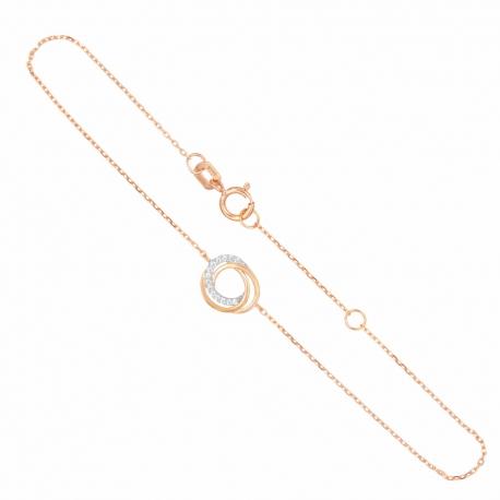 Bracelet Or Rose - Anneaux Enlacés Sertis de Zirconiums