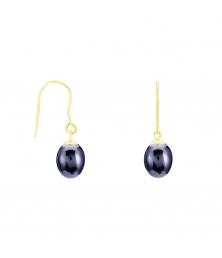 Boucles d'Oreilles Or Jaune Perles de Culture Noire - Dormeuses
