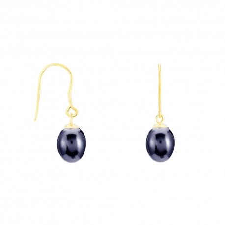 Boucles d'Oreilles Or Jaune Perles de Culture - Dormeuse Femme