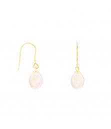 Boucles d'Oreilles Or Jaune Perles de Culture Rose - Dormeuses