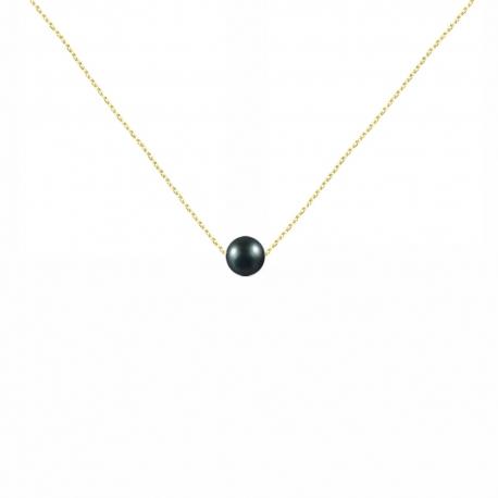 Collier Or Jaune et Perle Noire
