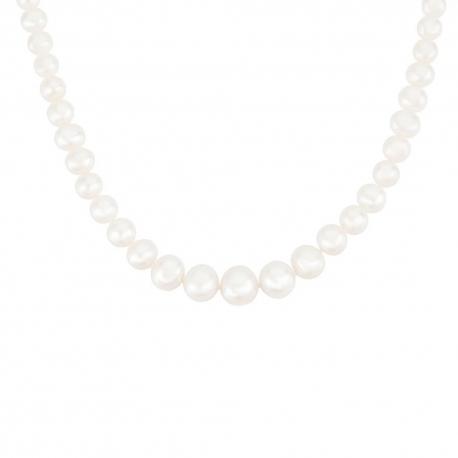 Collier Or Jaune et Perles en Chute