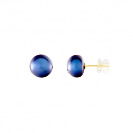 Boucles d'Oreilles Or Jaune Perles de Culture Noire - Puces