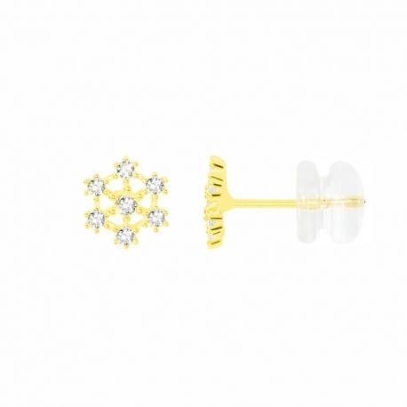 Boucles d'Oreilles Or Jaune Serties de Zirconiums - Femme
