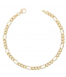 Bracelet Homme Maille Figaro Alternée 1+3 - Or Jaune Véritable
