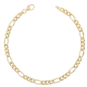 Bracelet Or 18 Carats 750/000 Maille Figaro Alternée 1+3 Jaune