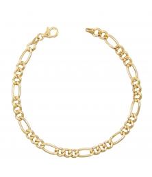Bracelet Or Jaune Maille Figaro Alternée 1+3 - Homme