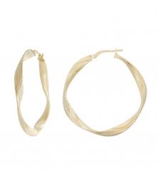 Boucles d'Oreilles Créoles Or Jaune Torsadées et Diamantées