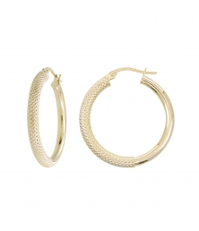 Boucles d'Oreilles Créoles Or Jaune Diamantées