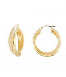 Boucles d'Oreilles Créoles Or Jaune Doubles et Diamantées