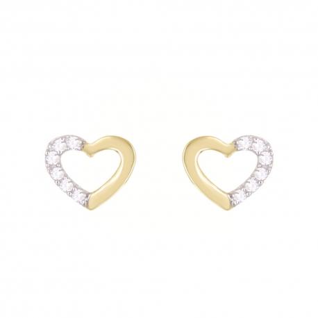 Boucles d'Oreilles Or Jaune Coeurs Sertis de Zirconiums