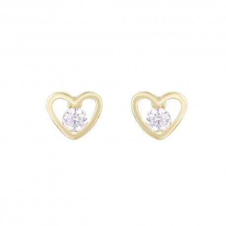 Boucles d'Oreilles Or Jaune Coeurs Serties de Zirconiums