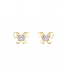 Boucles d'Oreilles Or Jaune et Diamants - Papillons