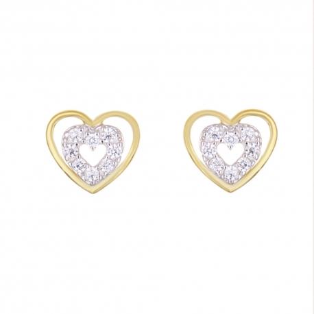 Boucles d'Oreilles Or Jaune et Diamants - Coeurs Sertis