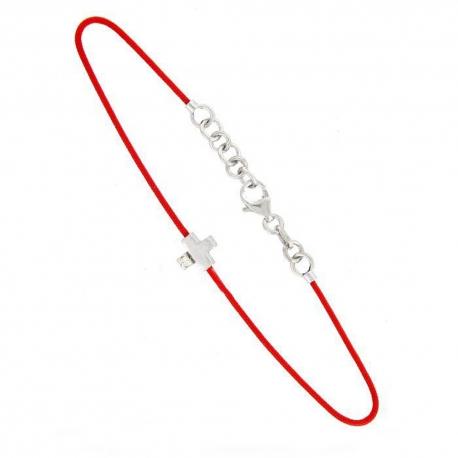 Bracelet Argent et Diamant - Motif Croix - Cordon Rouge