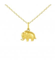 Collier - Pendentif Eléphant Or Jaune - Chaine Dorée Offerte - Enfant