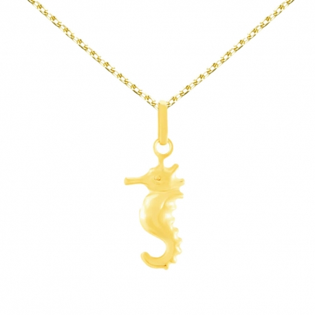 Collier - Pendentif Hippocampe Or Jaune - Chaine Dorée Offerte - Enfant