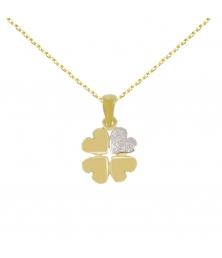 Collier - Pendentif Trèfle Or Jaune - Chaine dorée Offerte - Femme