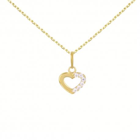 Collier Pendentif Or Jaune Coeur Sertis de Zirconiums - Chaine Dorée Offerte