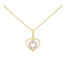 Collier - Pendentif Or Jaune Coeur Serti de Diamants - Chaine Dorée Offerte