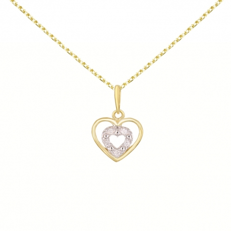 Collier Pendentif Or Jaune Coeur Serti de Diamants - Chaine Dorée Offerte