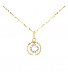 Collier - Pendentif Or Jaune Anneau Serti de Diamants - Chaine Dorée Offerte