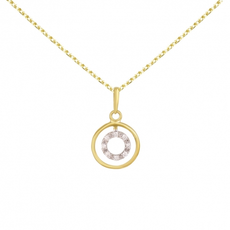 Collier Pendentif Or Jaune Anneau Serti de Diamants - Chaine Dorée Offerte