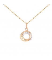 Collier - Pendentif Or Rose Anneaux Enlacés Sertis de Zirconiums - Chaine Dorée Rose Offerte
