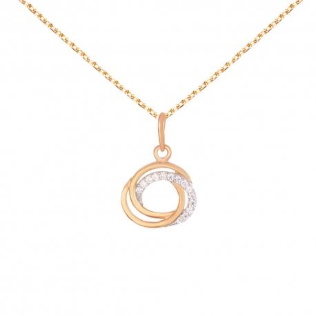 Collier Pendentif Or Rose Anneaux Enlacés Sertis de Zirconiums - Chaine Rosée Offerte