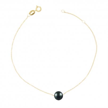 Bracelet Or et Perle Noire - Femme
