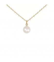 Collier - Pendentif Or Jaune et Perle de Culture 8mm - Femme