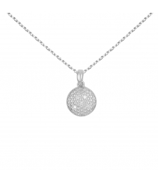 Collier - Pendentif Rond Or Blanc et Diamants - Chaine Argent 925 Offerte