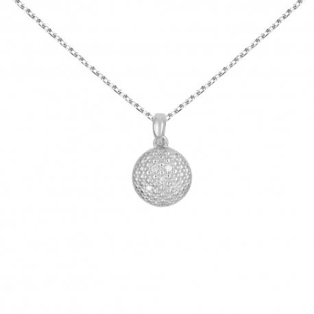 Collier - Pendentif Or Blanc et Diamants - Chaine Argent 925 Offerte- Femme