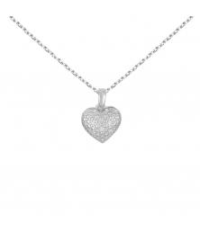 Collier - Pendentif Coeur Or Blanc et Diamants - Chaine Argent 925 Offerte