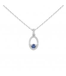 Collier - Pendentif Or Blanc Diamants et Saphir Bleu - Chaine Argent 925 Offerte