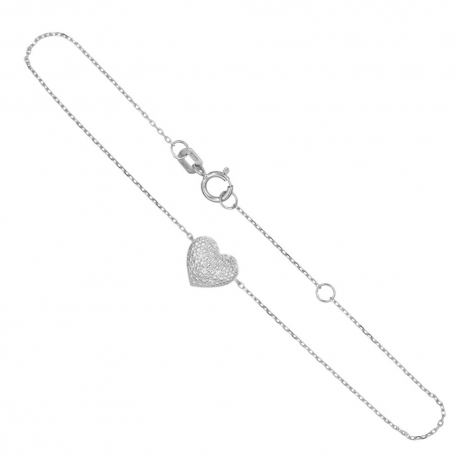 Bracelet Or Blanc et Diamants - Motif Coeur