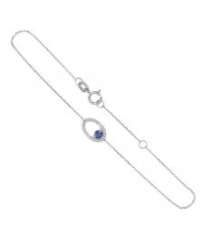 Bracelet Or Blanc Diamants et Saphir Bleu